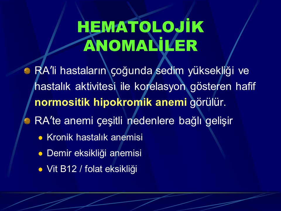 HEMATOLOJİK ANOMALİLER