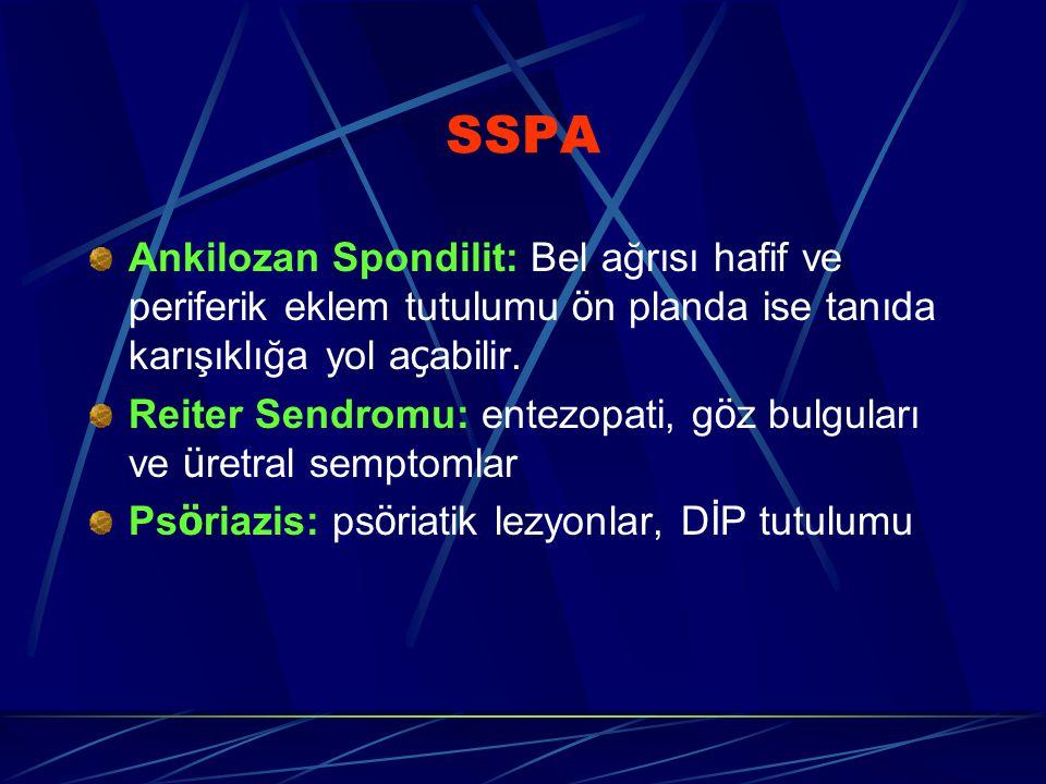 SSPA Ankilozan Spondilit: Bel ağrısı hafif ve periferik eklem tutulumu ön planda ise tanıda karışıklığa yol açabilir.