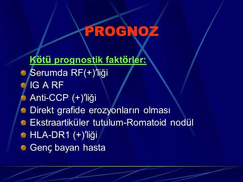PROGNOZ Kötü prognostik faktörler: Serumda RF(+)'liği IG A RF