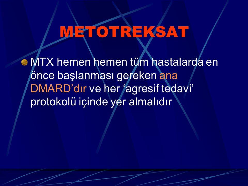 METOTREKSAT MTX hemen hemen tüm hastalarda en önce başlanması gereken ana DMARD'dır ve her 'agresif tedavi' protokolü içinde yer almalıdır.