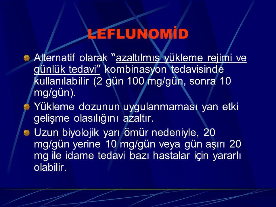 LEFLUNOMİD Alternatif olarak azaltılmış yükleme rejimi ve günlük tedavi kombinasyon tedavisinde kullanılabilir (2 gün 100 mg/gün, sonra 10 mg/gün).
