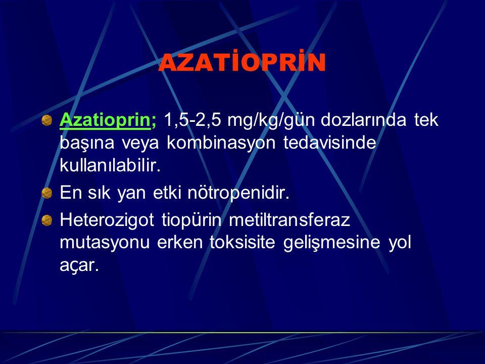 AZATİOPRİN Azatioprin; 1,5-2,5 mg/kg/gün dozlarında tek başına veya kombinasyon tedavisinde kullanılabilir.
