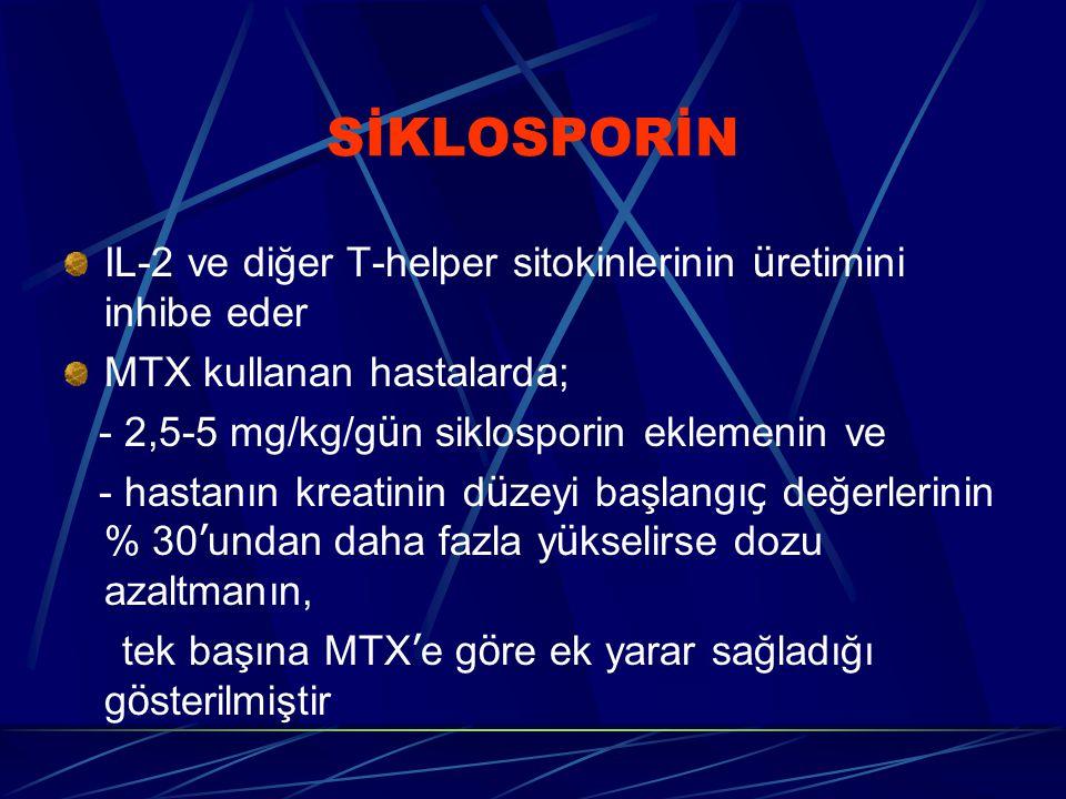 SİKLOSPORİN IL-2 ve diğer T-helper sitokinlerinin üretimini inhibe eder. MTX kullanan hastalarda; - 2,5-5 mg/kg/gün siklosporin eklemenin ve.