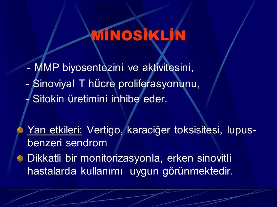 MİNOSİKLİN - MMP biyosentezini ve aktivitesini,