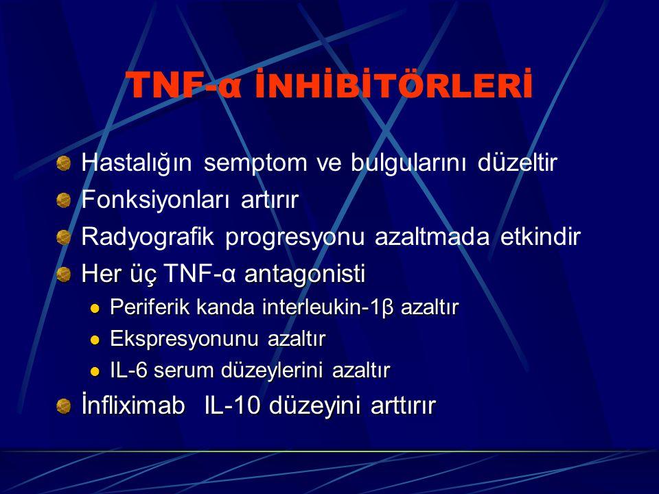 TNF-α İNHİBİTÖRLERİ Hastalığın semptom ve bulgularını düzeltir