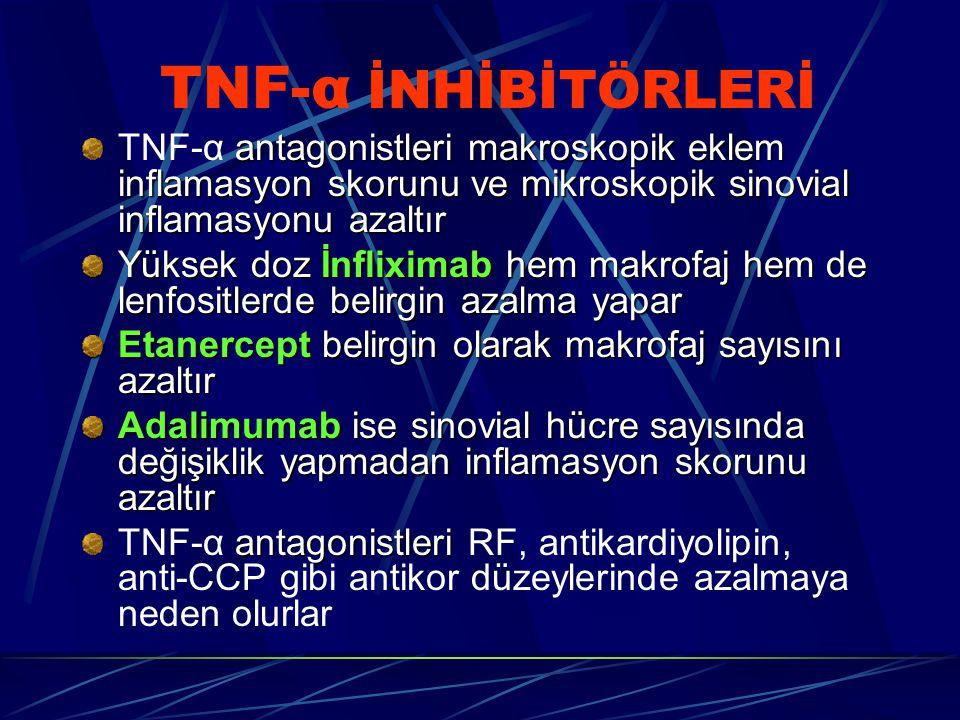 TNF-α İNHİBİTÖRLERİ TNF-α antagonistleri makroskopik eklem inflamasyon skorunu ve mikroskopik sinovial inflamasyonu azaltır.