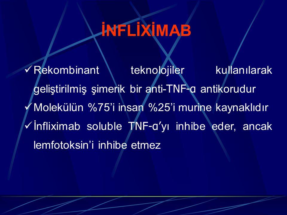 İNFLİXİMAB Rekombinant teknolojiler kullanılarak geliştirilmiş şimerik bir anti-TNF-α antikorudur. Molekülün %75'i insan %25'i murine kaynaklıdır.