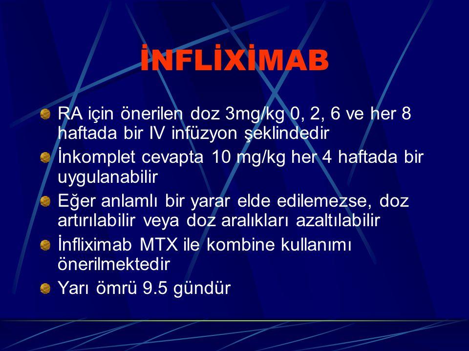 İNFLİXİMAB RA için önerilen doz 3mg/kg 0, 2, 6 ve her 8 haftada bir IV infüzyon şeklindedir.