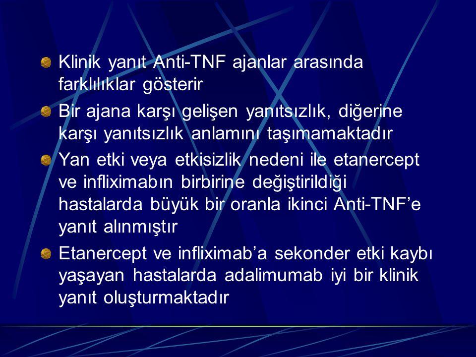 Klinik yanıt Anti-TNF ajanlar arasında farklılıklar gösterir
