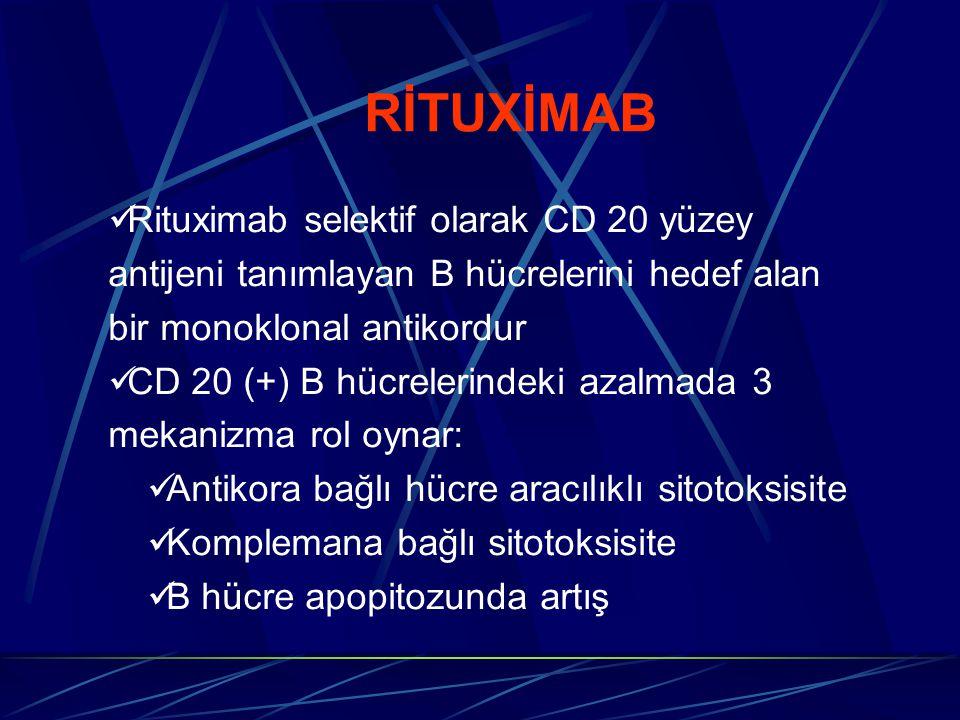 RİTUXİMAB Rituximab selektif olarak CD 20 yüzey antijeni tanımlayan B hücrelerini hedef alan bir monoklonal antikordur.