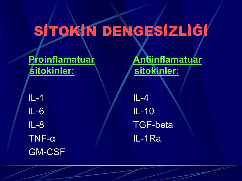 SİTOKİN DENGESİZLİĞİ Proinflamatuar sitokinler: IL-1 IL-6 IL-8 TNF-α
