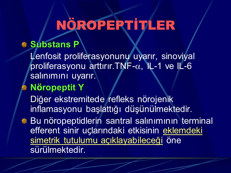 NÖROPEPTİTLER Substans P