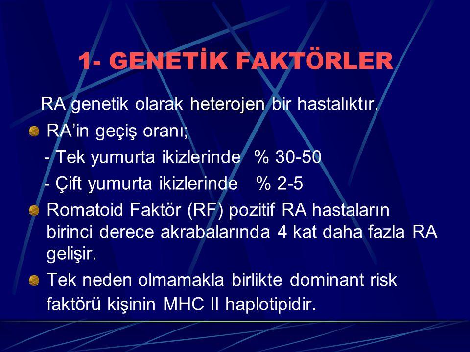 1- GENETİK FAKTÖRLER RA genetik olarak heterojen bir hastalıktır.