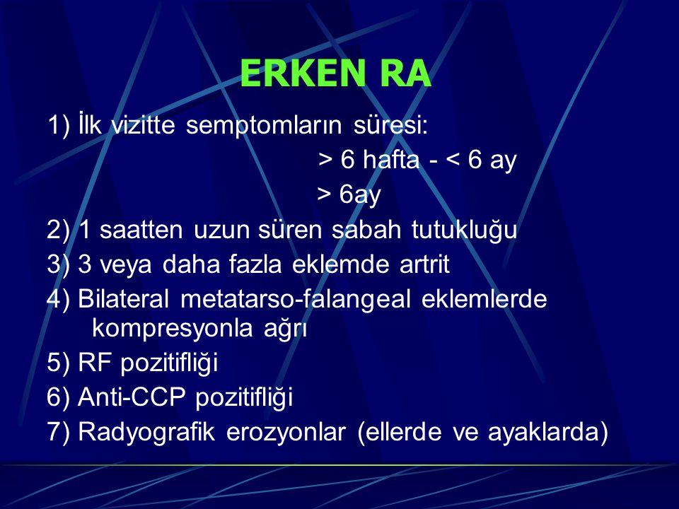 ERKEN RA 1) İlk vizitte semptomların süresi: > 6 hafta - < 6 ay