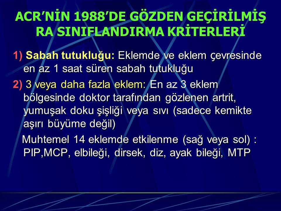 ACR'NİN 1988'DE GÖZDEN GEÇİRİLMİŞ RA SINIFLANDIRMA KRİTERLERİ