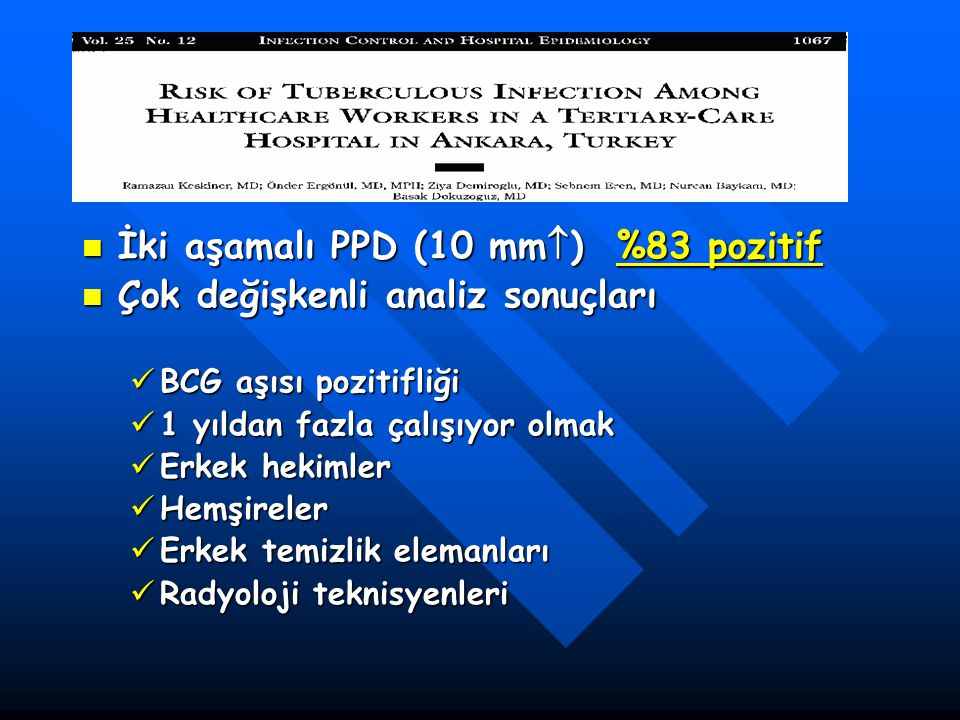 İki aşamalı PPD (10 mm) %83 pozitif Çok değişkenli analiz sonuçları