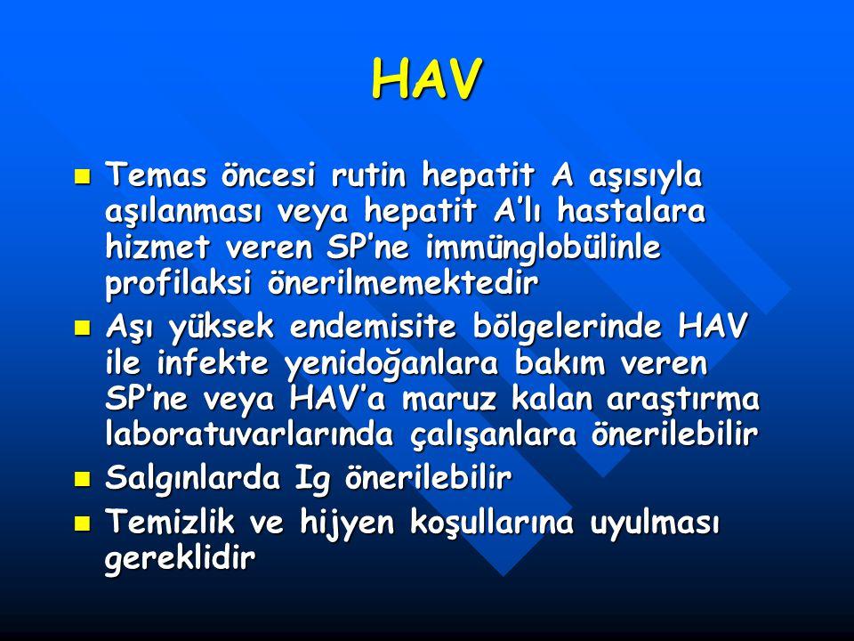 HAV Temas öncesi rutin hepatit A aşısıyla aşılanması veya hepatit A'lı hastalara hizmet veren SP'ne immünglobülinle profilaksi önerilmemektedir.