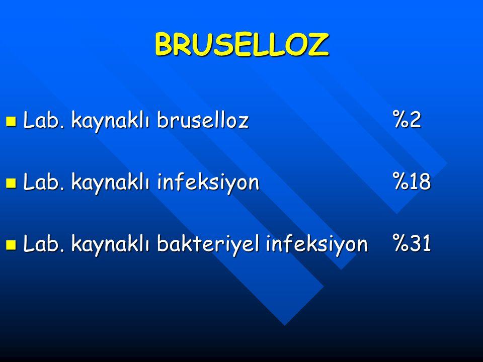 BRUSELLOZ Lab. kaynaklı bruselloz %2 Lab. kaynaklı infeksiyon %18