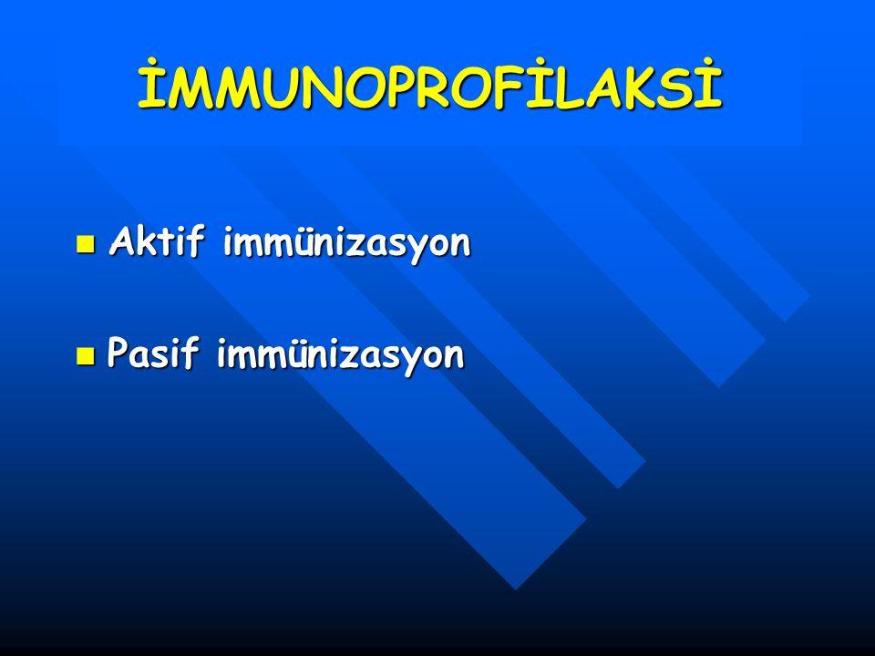 İMMUNOPROFİLAKSİ Aktif immünizasyon Pasif immünizasyon
