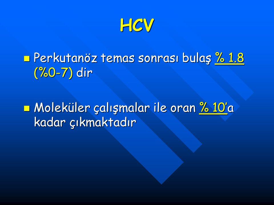 HCV Perkutanöz temas sonrası bulaş % 1.8 (%0-7) dir