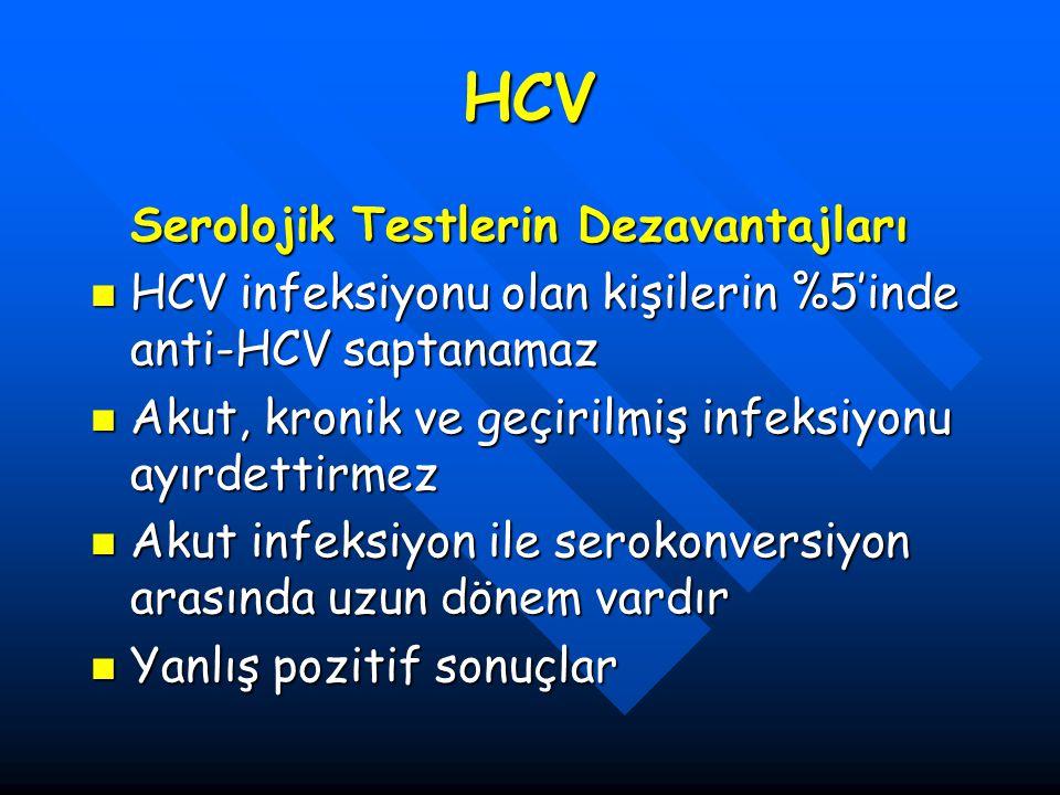 HCV Serolojik Testlerin Dezavantajları