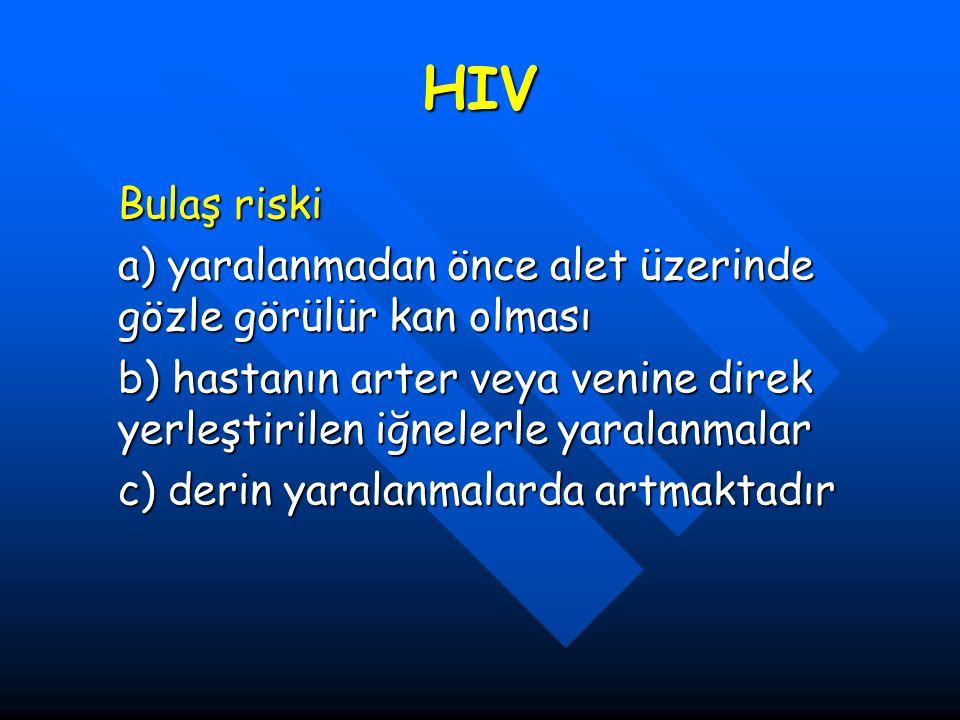 HIV Bulaş riski. a) yaralanmadan önce alet üzerinde gözle görülür kan olması.