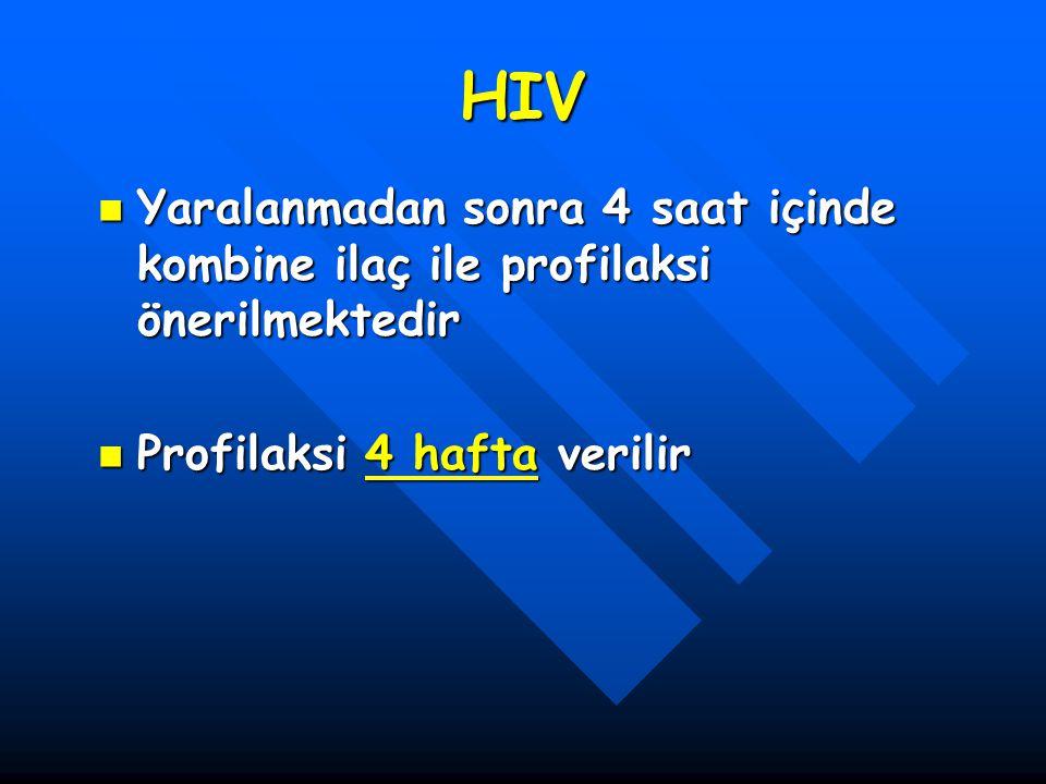 HIV Yaralanmadan sonra 4 saat içinde kombine ilaç ile profilaksi önerilmektedir.