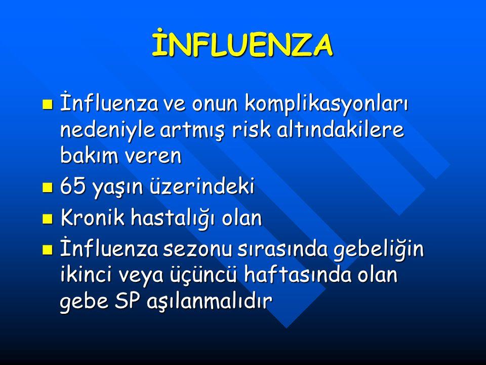 İNFLUENZA İnfluenza ve onun komplikasyonları nedeniyle artmış risk altındakilere bakım veren. 65 yaşın üzerindeki.