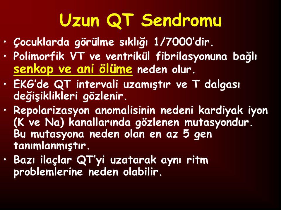 Uzun QT Sendromu Çocuklarda görülme sıklığı 1/7000'dir.