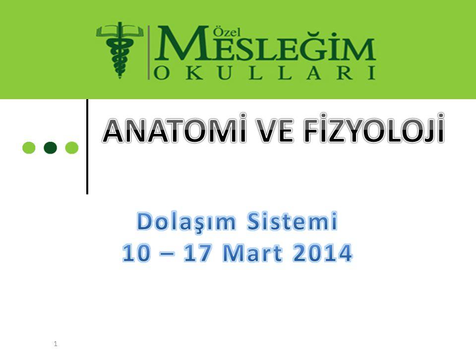 ANATOMİ VE FİZYOLOJİ Dolaşım Sistemi 10 – 17 Mart 2014