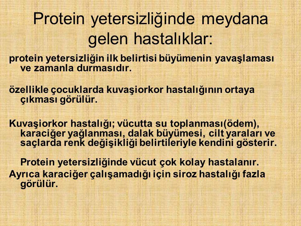 Protein yetersizliğinde meydana gelen hastalıklar: