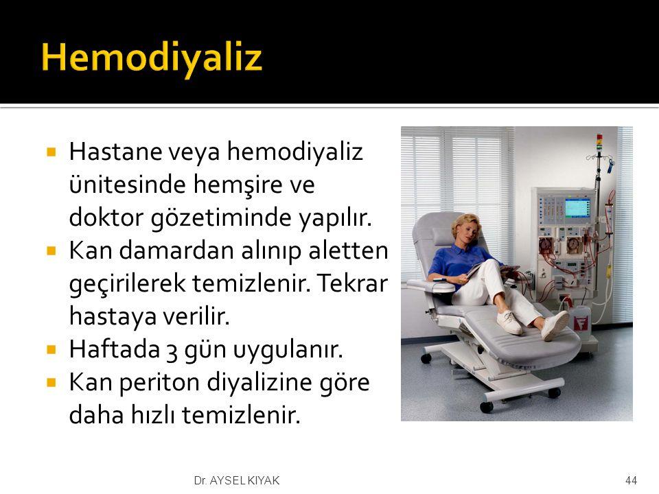 Hemodiyaliz Hastane veya hemodiyaliz ünitesinde hemşire ve doktor gözetiminde yapılır.