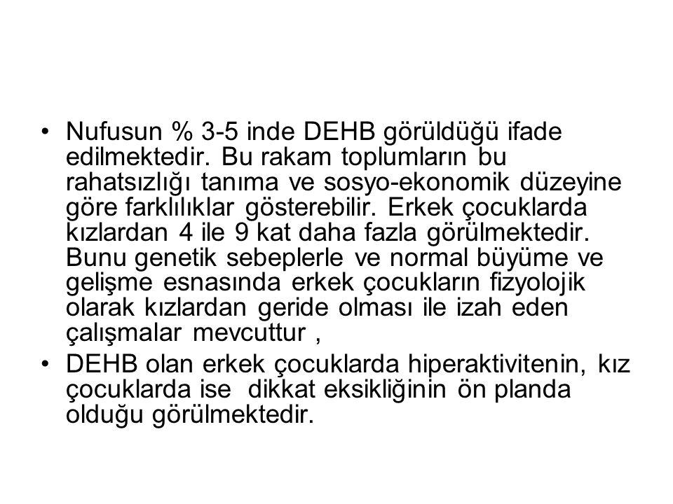 Nufusun % 3-5 inde DEHB görüldüğü ifade edilmektedir