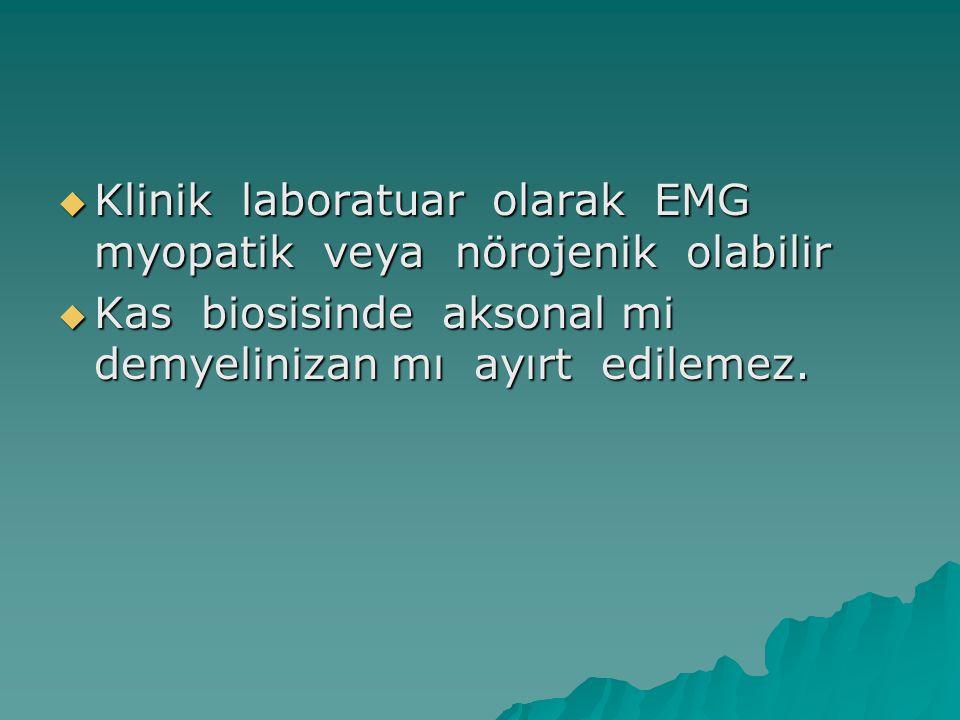 Klinik laboratuar olarak EMG myopatik veya nörojenik olabilir