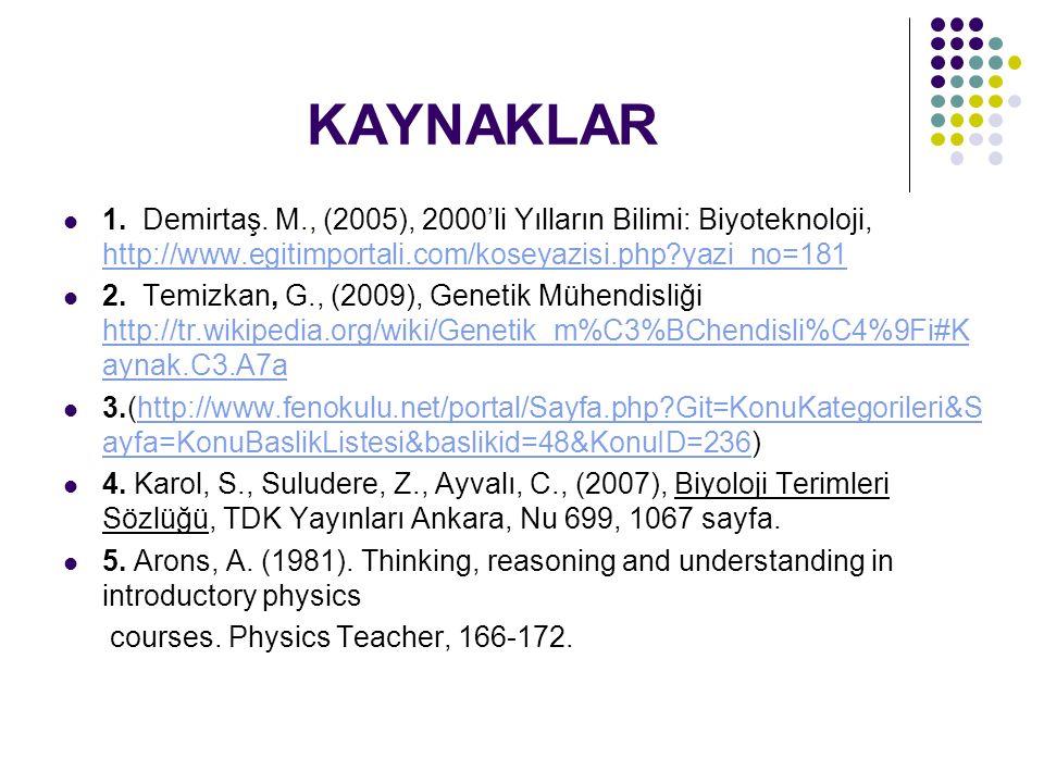 KAYNAKLAR 1. Demirtaş. M., (2005), 2000'li Yılların Bilimi: Biyoteknoloji, http://www.egitimportali.com/koseyazisi.php yazi_no=181.