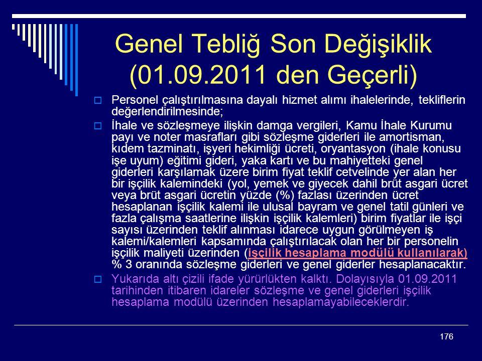Genel Tebliğ Son Değişiklik (01.09.2011 den Geçerli)