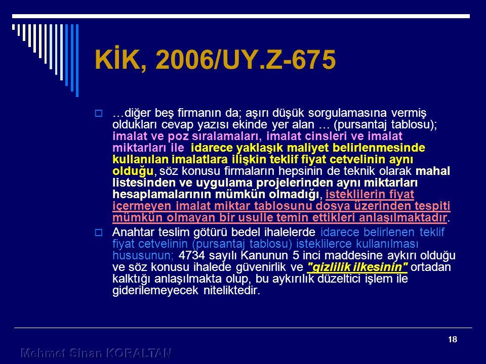 KİK, 2006/UY.Z-675
