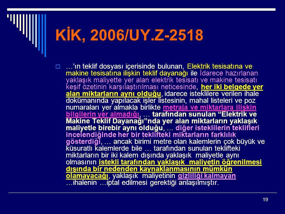 KİK, 2006/UY.Z-2518