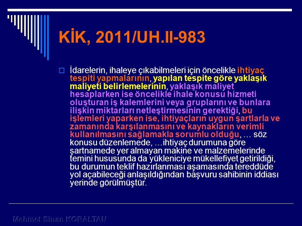 KİK, 2011/UH.II-983