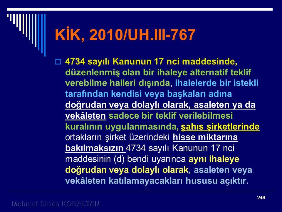 KİK, 2010/UH.III-767