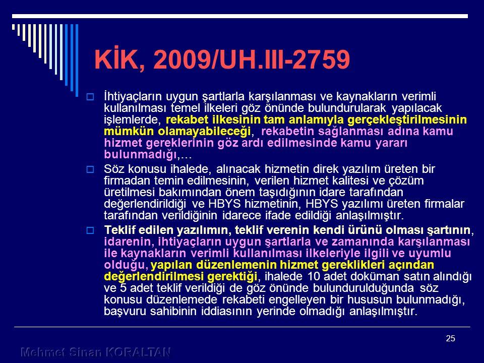 KİK, 2009/UH.III-2759