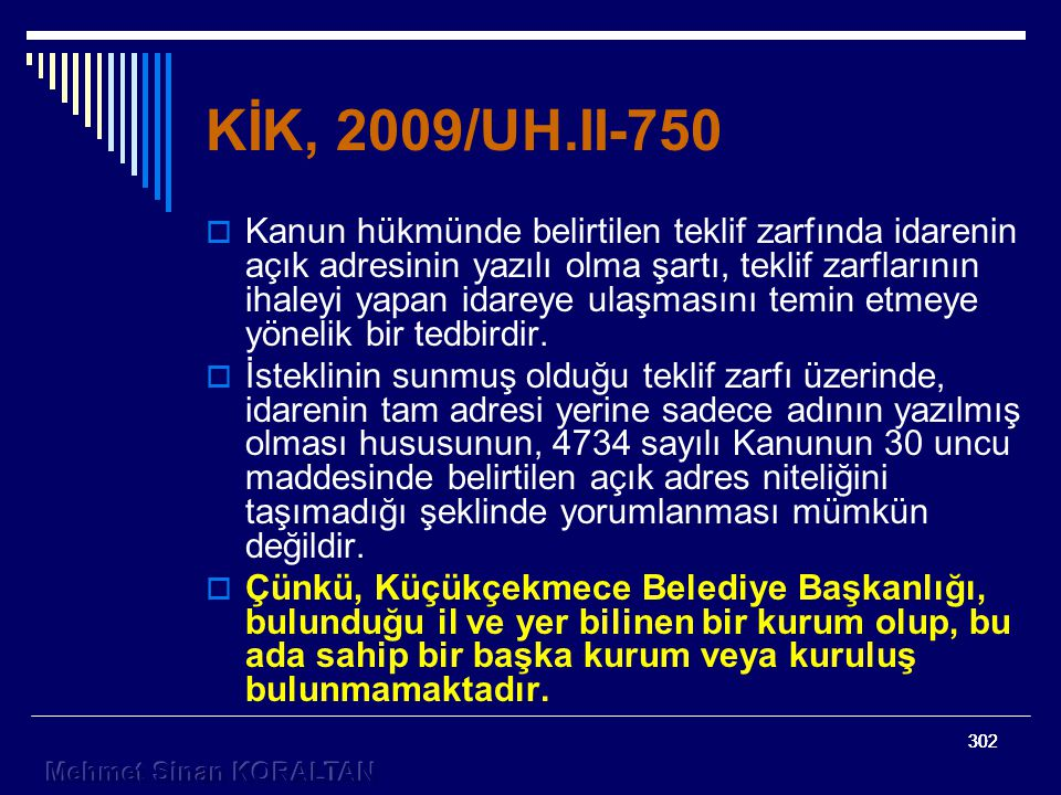 KİK, 2009/UH.II-750