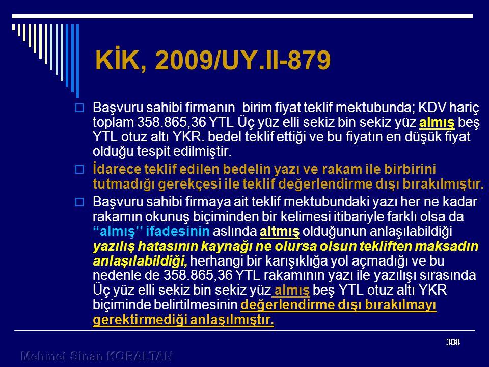 KİK, 2009/UY.II-879