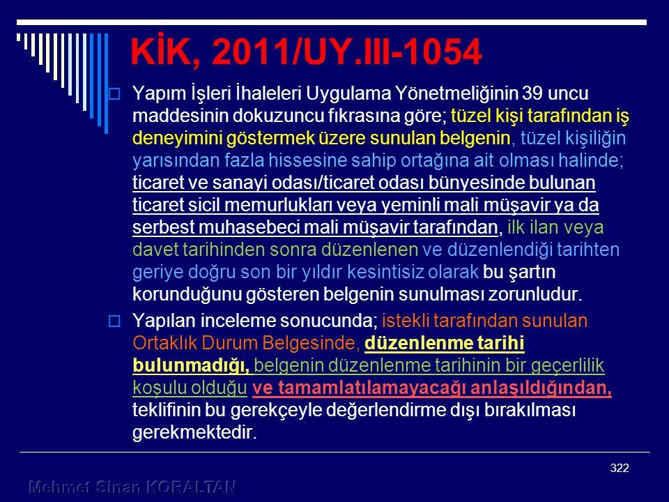 KİK, 2011/UY.III-1054