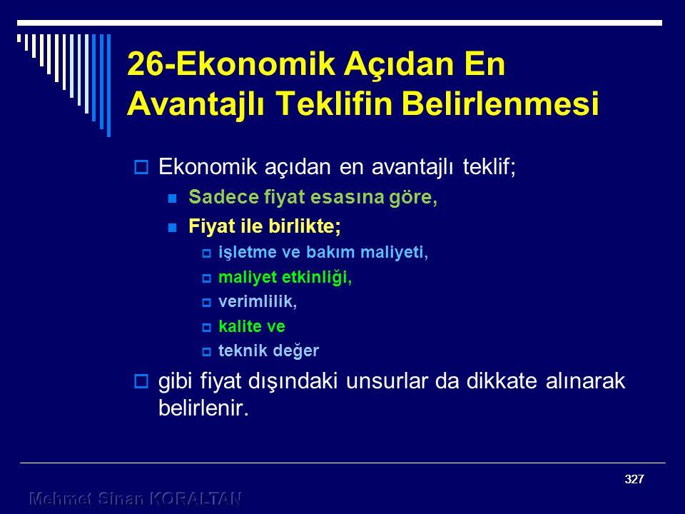 26-Ekonomik Açıdan En Avantajlı Teklifin Belirlenmesi