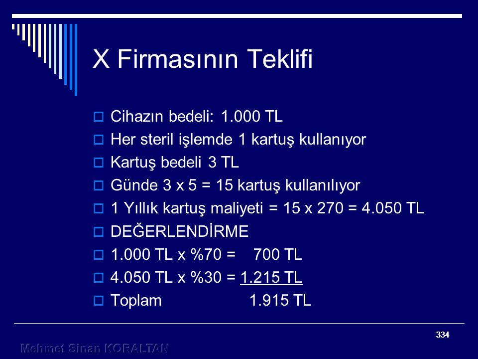 X Firmasının Teklifi Cihazın bedeli: 1.000 TL
