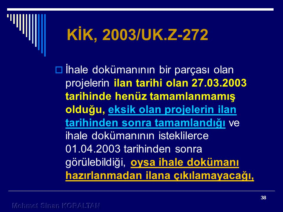 KİK, 2003/UK.Z-272