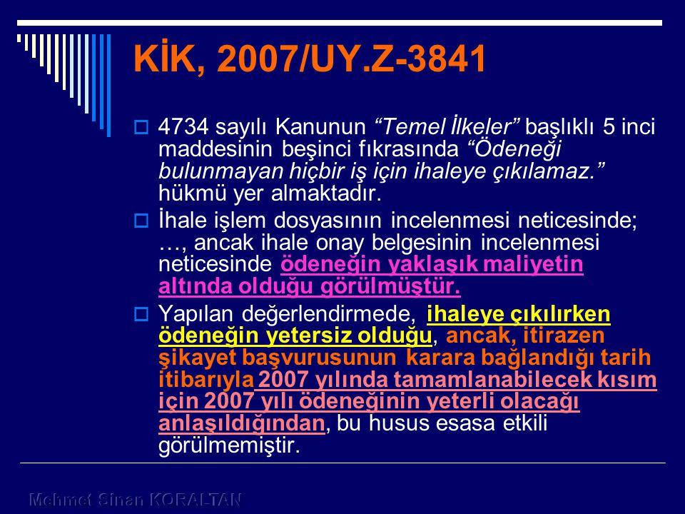 KİK, 2007/UY.Z-3841