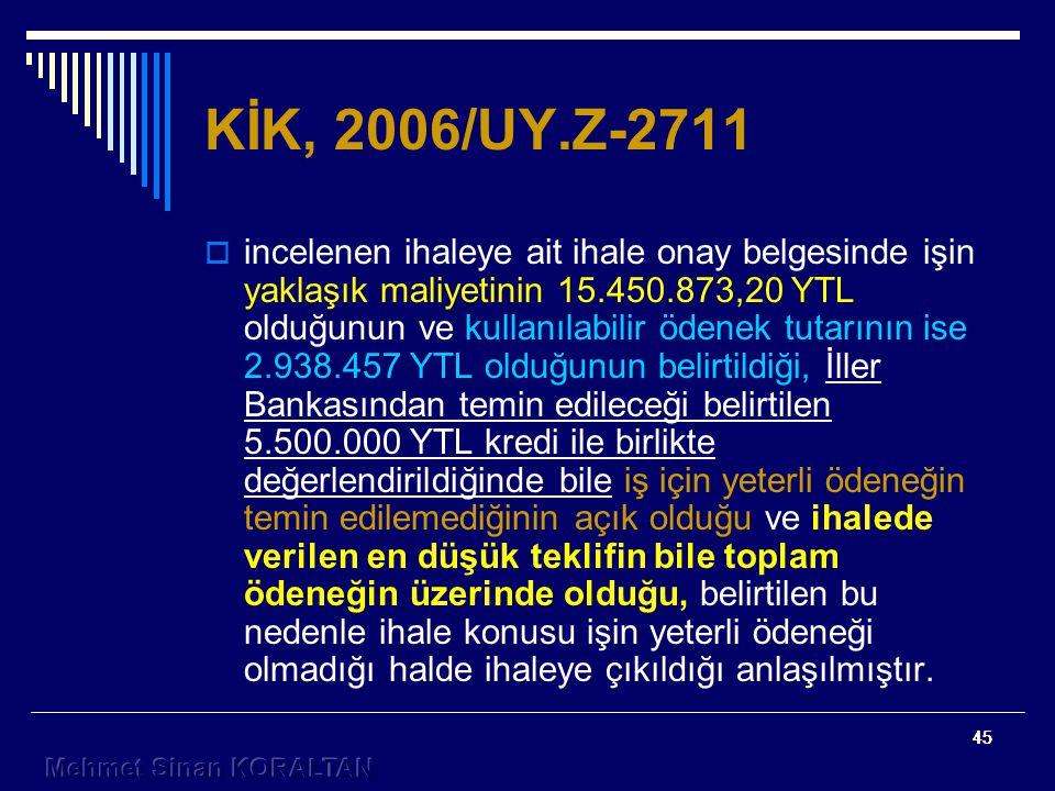 KİK, 2006/UY.Z-2711