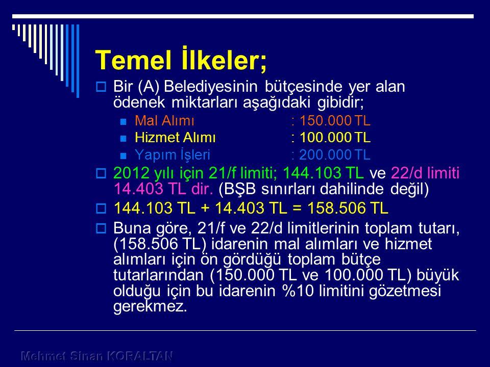 Temel İlkeler; Bir (A) Belediyesinin bütçesinde yer alan ödenek miktarları aşağıdaki gibidir; Mal Alımı : 150.000 TL.